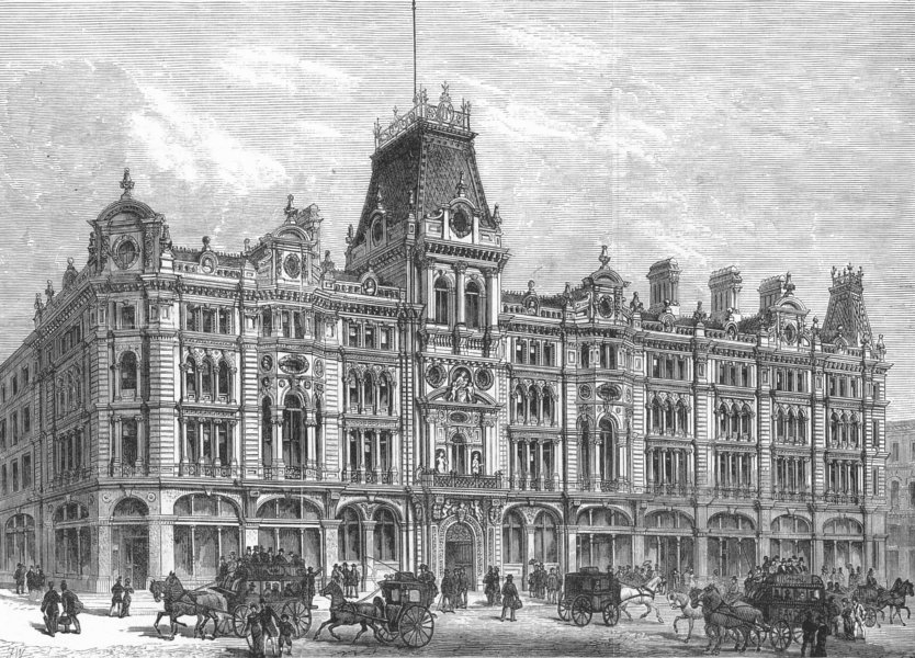 Associate Product CHEAPSIDE. Mercers Co's new buildings , antique print, 1881