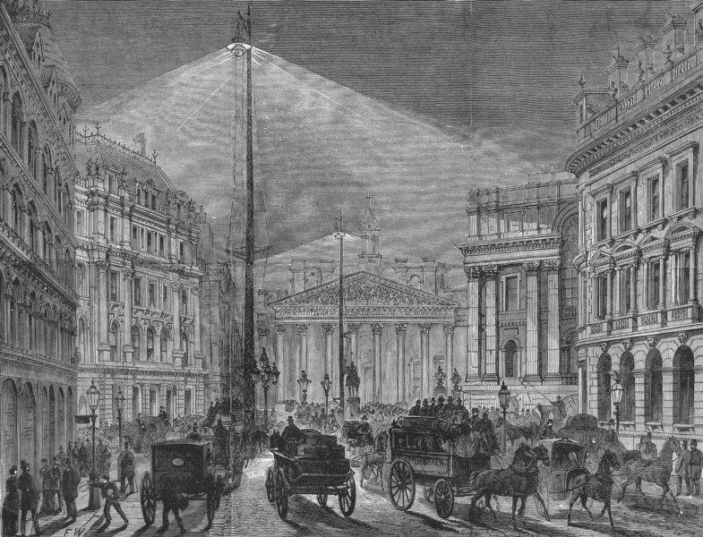 Associate Product LONDON. Electric light, Mansion House, antique print, 1881