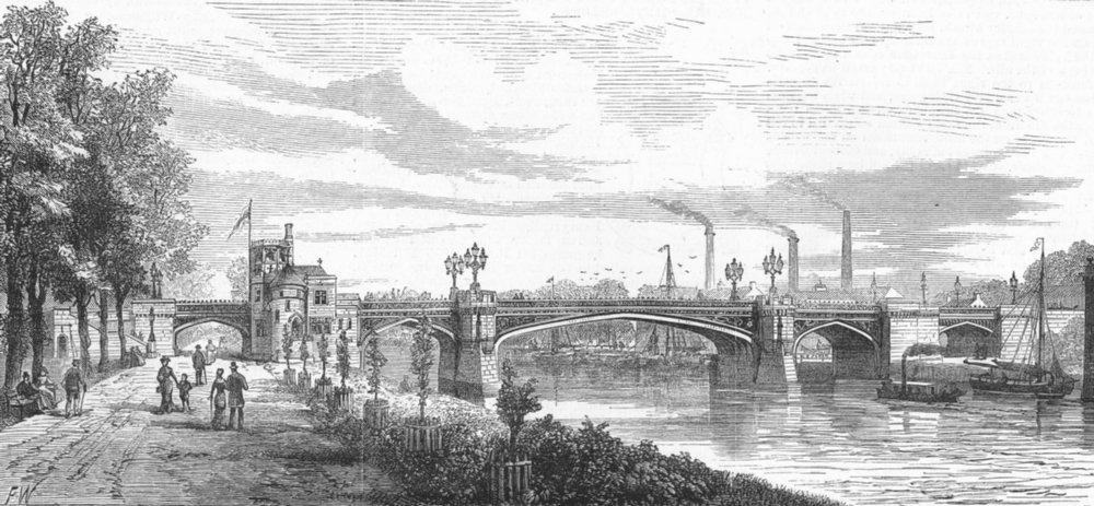 Associate Product YORKS. Skeldergate Bridge, York, antique print, 1881