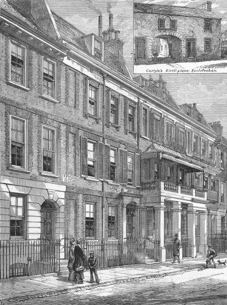 Associate Product LONDON. Cheyne Row, Chelsea, Thomas Carlyle house, antique print, 1881