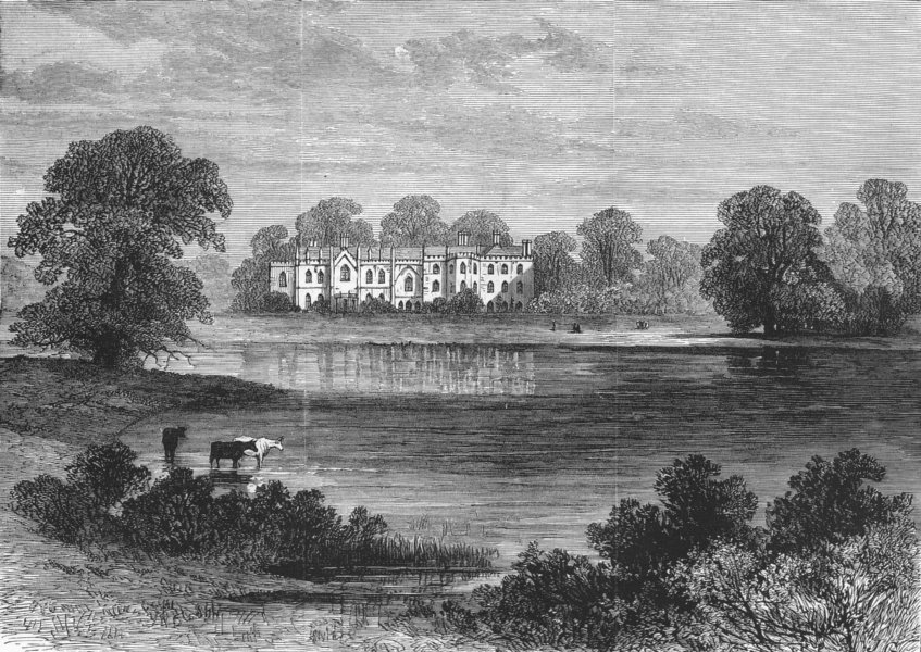 Associate Product CHESHIRE. Combermere Abbey, Cheshire, antique print, 1881