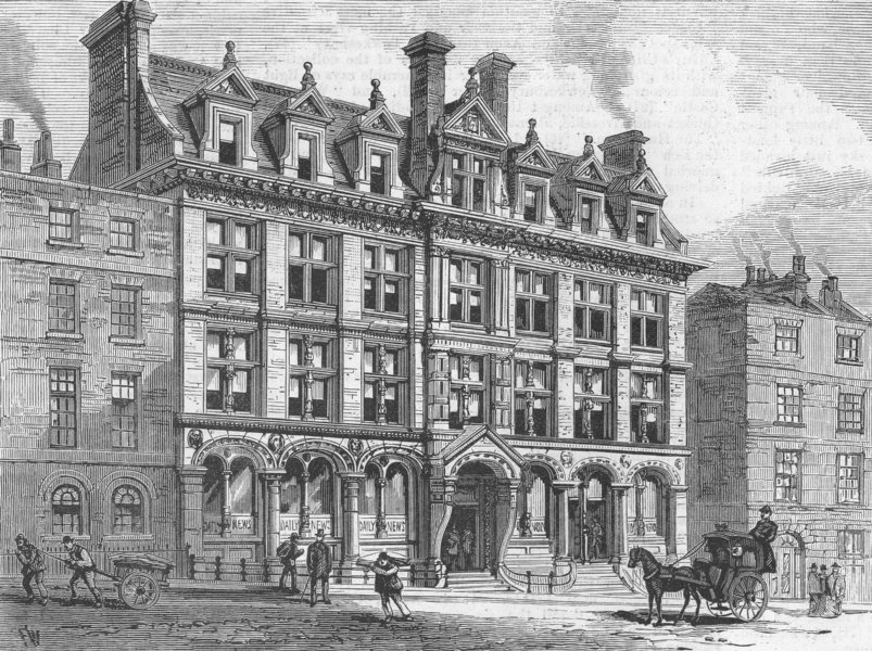 Associate Product FLEET ST. New offices of Daily News, Bouverie , antique print, 1885