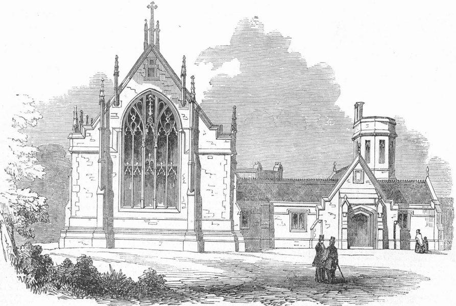 Associate Product BROMPTON. Chapel of TB hospital , antique print, 1850