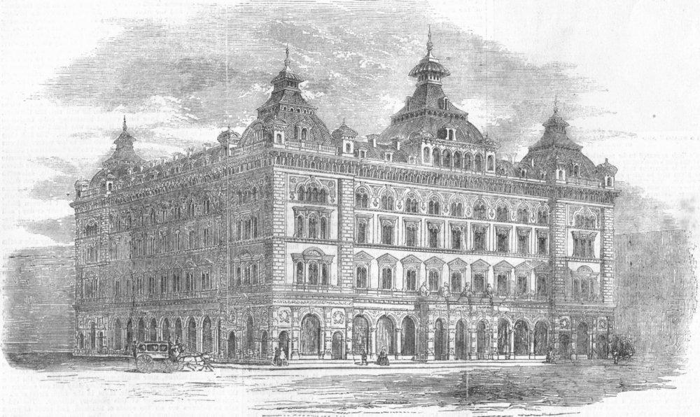 Associate Product LONDON. The International Hotel, antique print, 1858