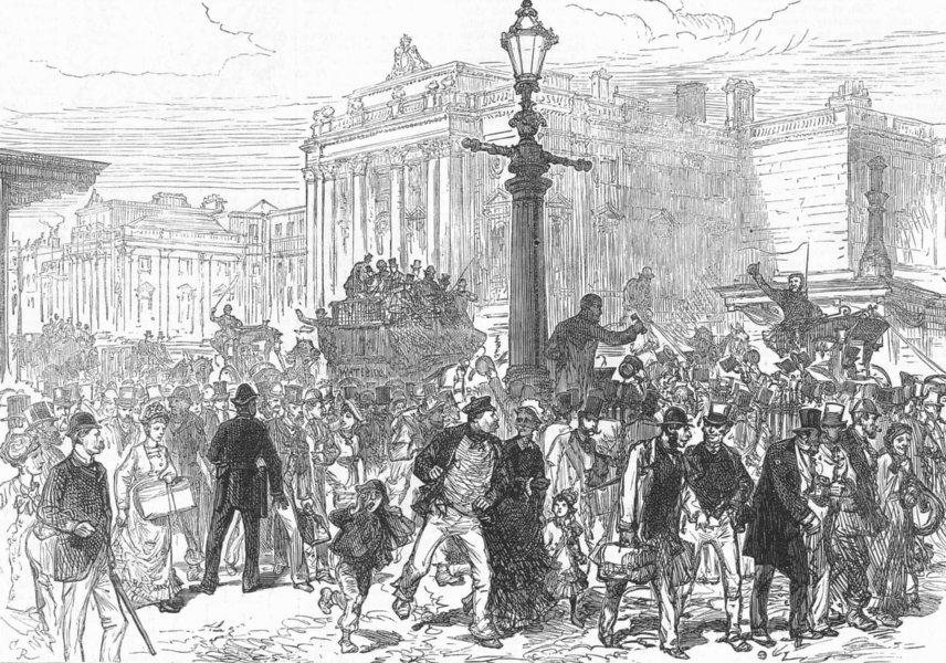 Associate Product WATERLOO BRIDGE. Abolition of toll. Declaring free, antique print, 1878