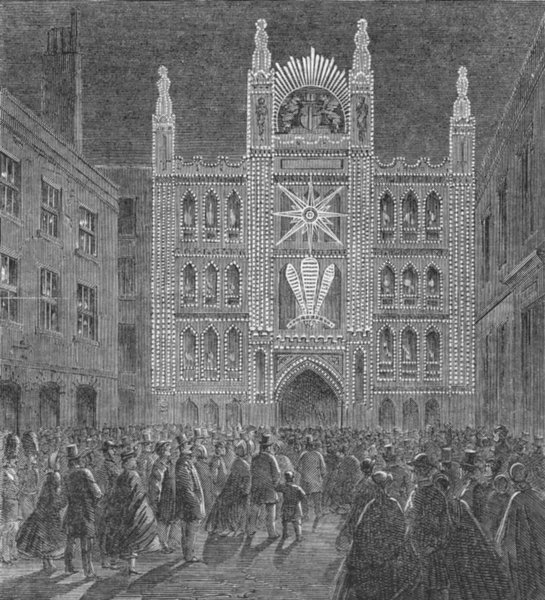 Associate Product LONDON. Lights. Guildhall, antique print, 1863