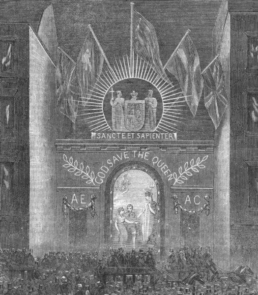 Associate Product LONDON. Lights. King's College, antique print, 1863