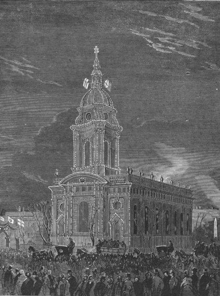 Associate Product WARCS. Birmingham. St Philip's Church lit up, antique print, 1863