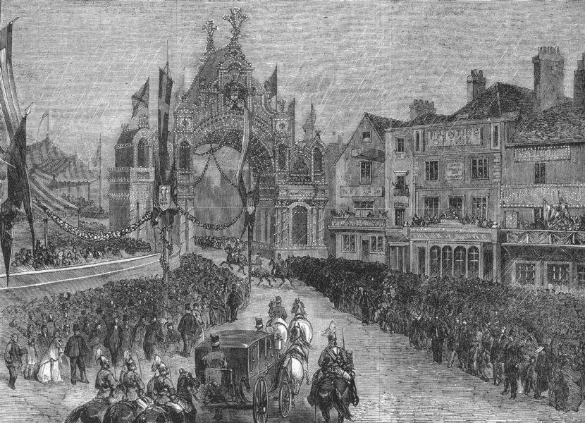 Associate Product CASTLE HILL. Royal cortege approaching arch, Windsor, antique print, 1863