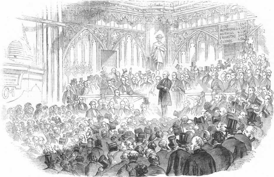 Associate Product LONDON. City election, Guildhall. Lord John Russell , antique print, 1857