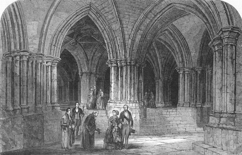 Associate Product GLASGOW. Royals, Crypt of Cathedral, antique print, 1849