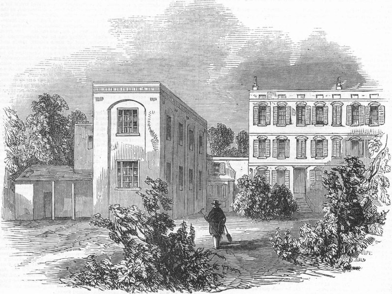 Associate Product LONDON. German Hospital & Grounds, antique print, 1845