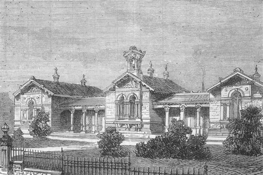 Associate Product YORKS. Saltaire High Schools, antique print, 1877