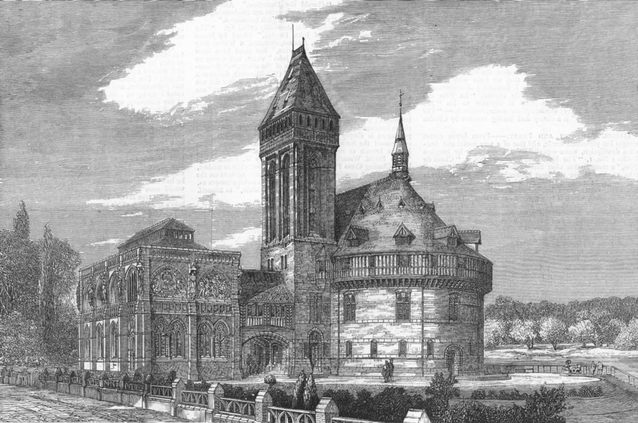 Associate Product SHAKESPEARE. Planned memorial buildings, Stratford, antique print, 1877