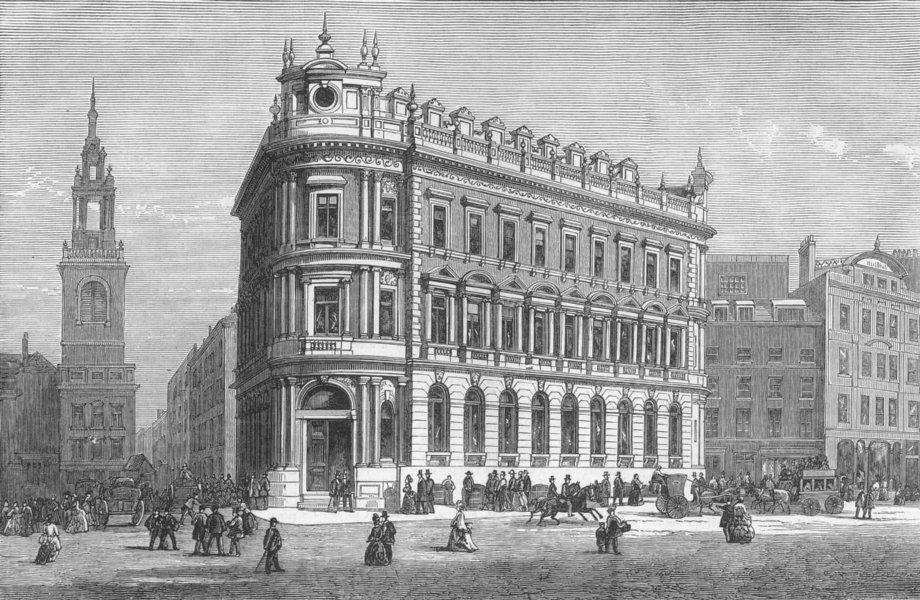 Associate Product QUEEN VICTORIA ST. National safe deposit Co , antique print, 1873