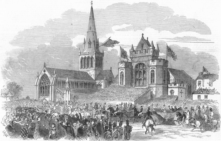 Associate Product SCOTLAND. Queen's visit to Glasgow Cathedral, antique print, 1849