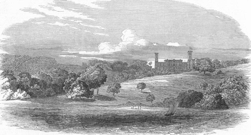 Associate Product OSBORNE. Isle of Wight. from sea, antique print, 1849