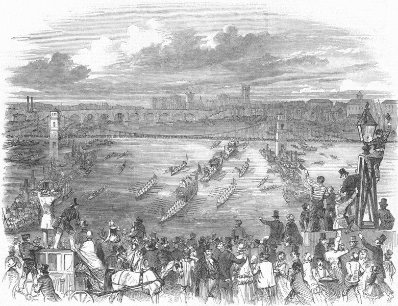 Associate Product WATERLOO BRIDGE. Parade seen Westward from, antique print, 1849