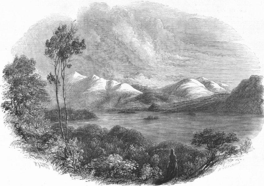 Associate Product CUMBS. Derwent Water, antique print, 1852