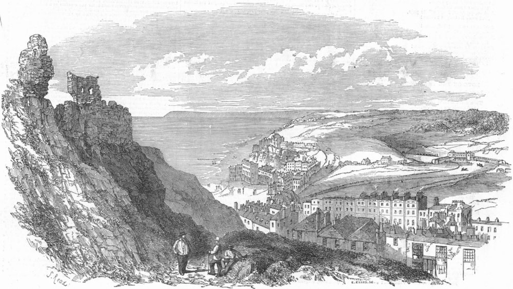 Associate Product SUSSEX. Hastings & Station, antique print, 1852