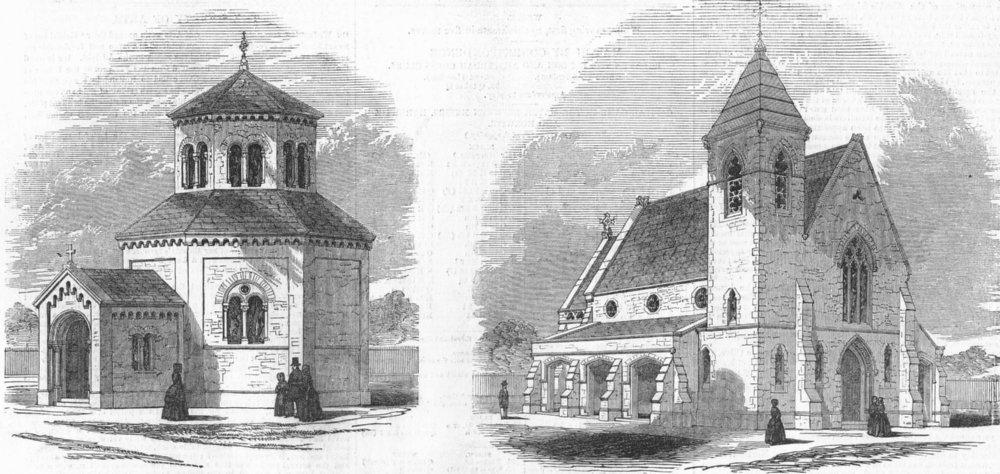 Associate Product LONDON. New Chapels, tower Hamlets Cemetery, antique print, 1849