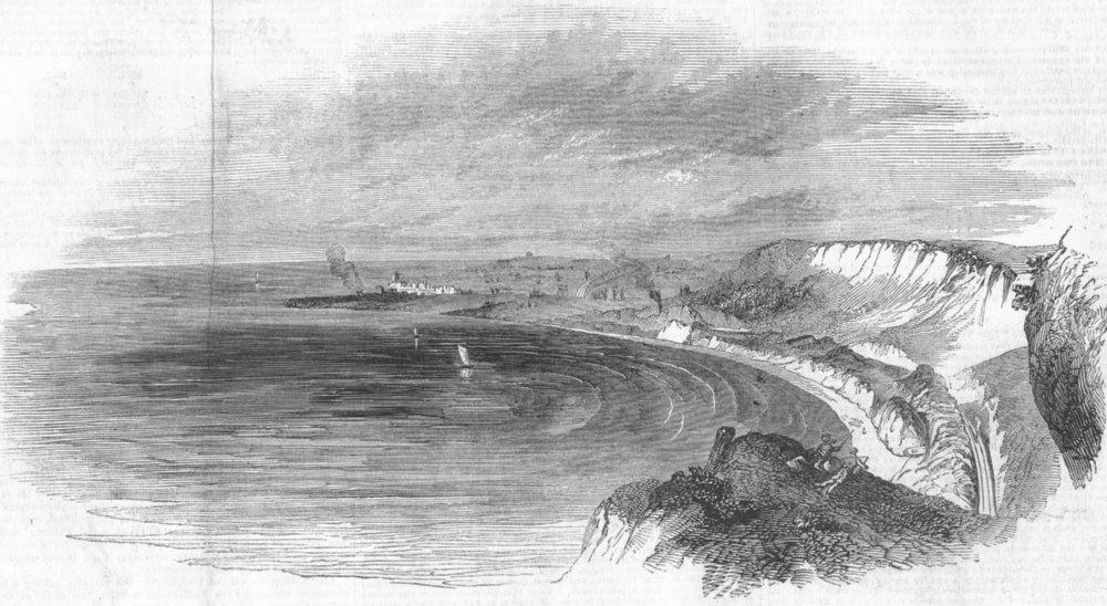 Associate Product FOLKESTONE. Sea-coast railway line between & Dover, antique print, 1846