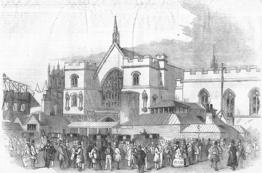 PALACE YD. Railway Committee rooms, Westminster Hall, antique print, 1846