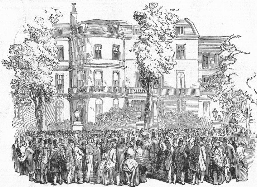 Associate Product LONDON. Whitehall Gardens, antique print, 1850