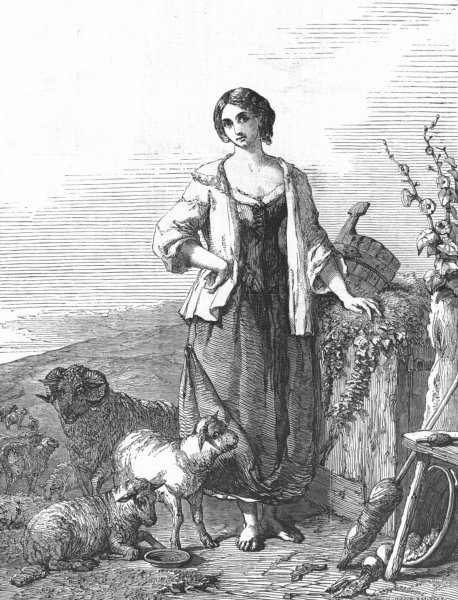 Associate Product CHILDREN. Shepherd's daughter, antique print, 1852