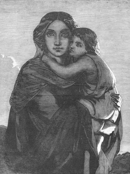 Associate Product PORTRAITS. Lady and child, antique print, 1852