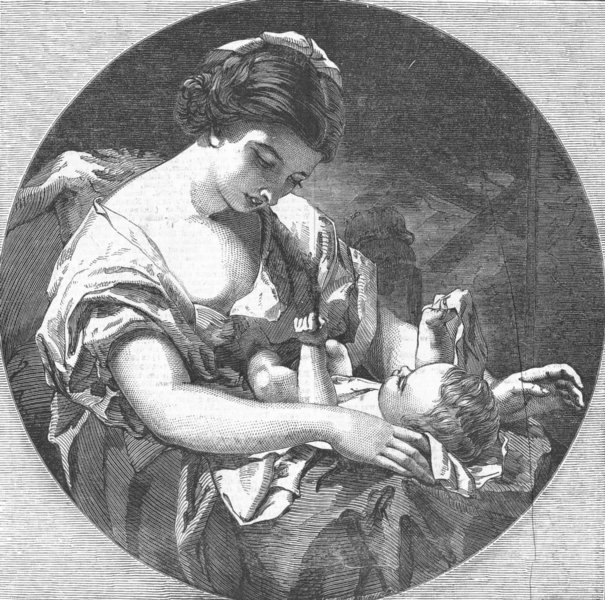 FAMILIES. The Mother's Hope, antique print, 1852