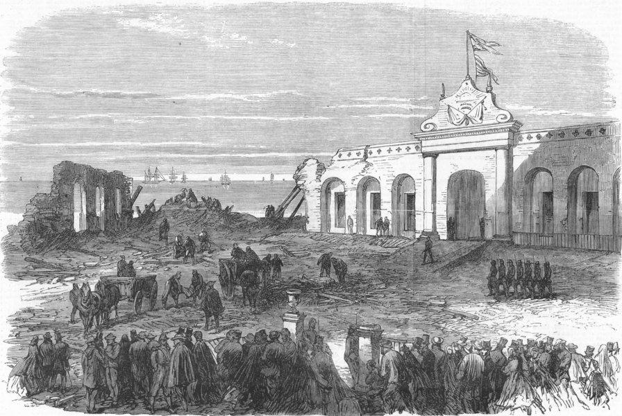 Associate Product BUENOS AIRES. Retiro Barracks ruins, after explosion, antique print, 1865