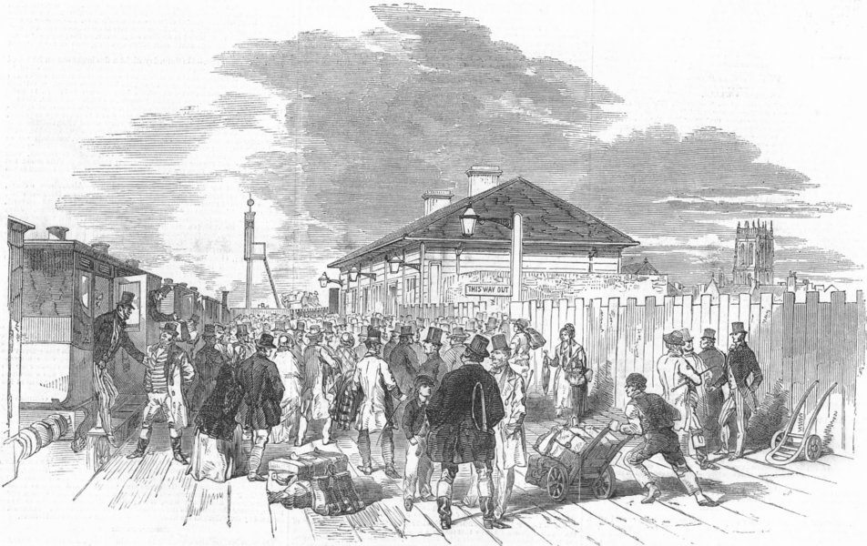 Associate Product YORKS. Station, Doncaster, antique print, 1849