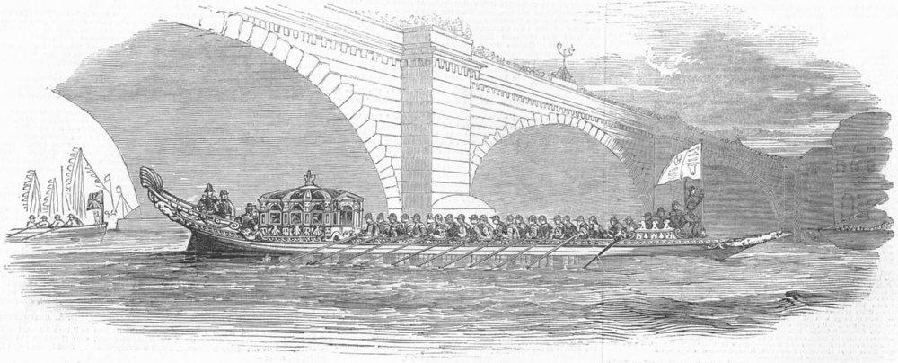 LONDON. Royal Barge passing Bridge, antique print, 1849