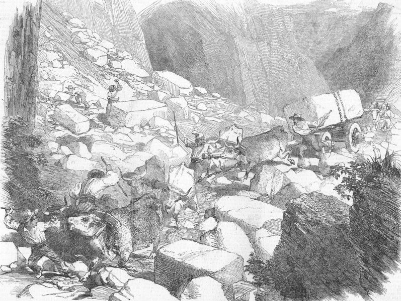 Associate Product ITALY. The Marble Quarries of Carrara, antique print, 1852
