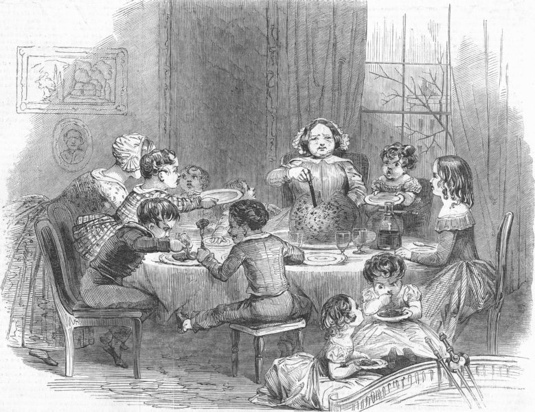 Associate Product FAMILY. The Christmas Pudding, antique print, 1849