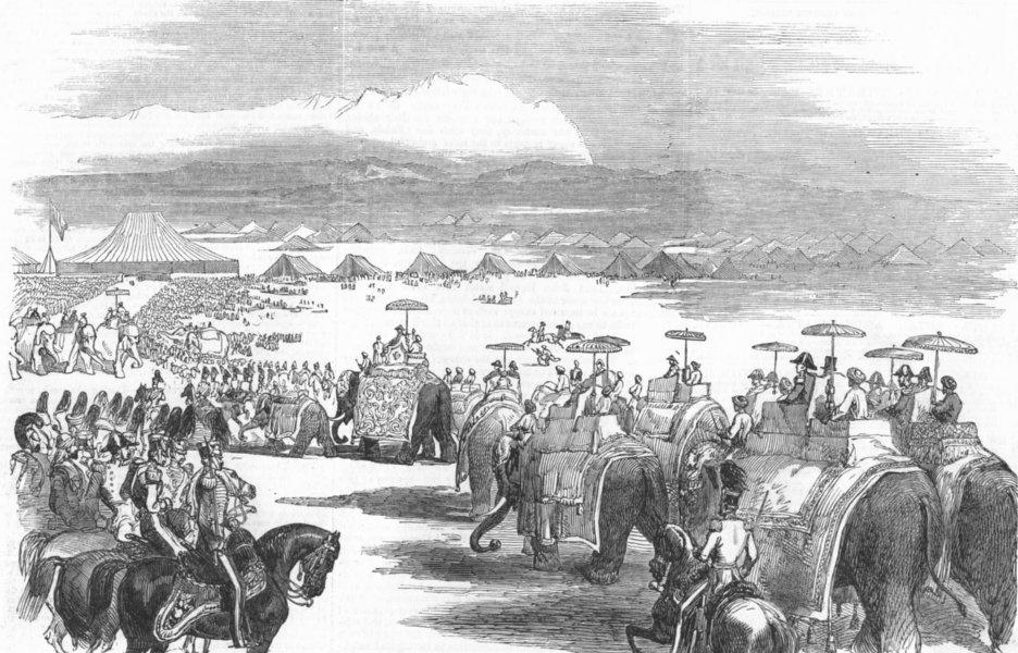 Associate Product INDIA. Gov-General, Elephants, camp, Kashmir, antique print, 1851