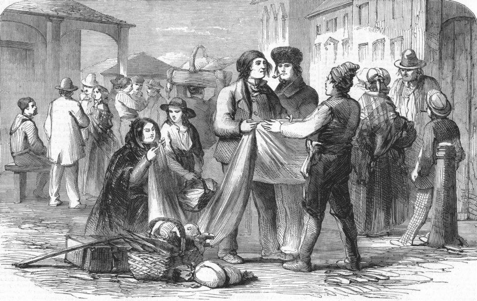 Associate Product CANADA. Montreal Market. Habitans purchasing cloth, antique print, 1859