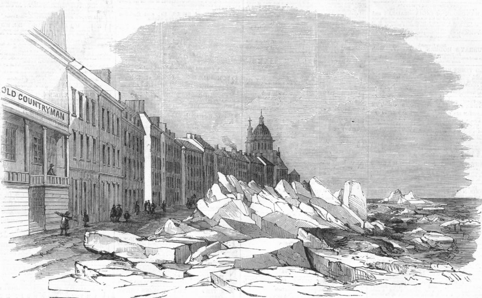 Associate Product CANADA. Breaking up of ice, St Lawrence, Montreal, antique print, 1859