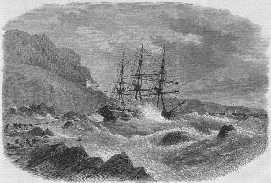 Associate Product DEVON. Shipwreck, Picklecombe guns, Plymouth Sound, antique print, 1867
