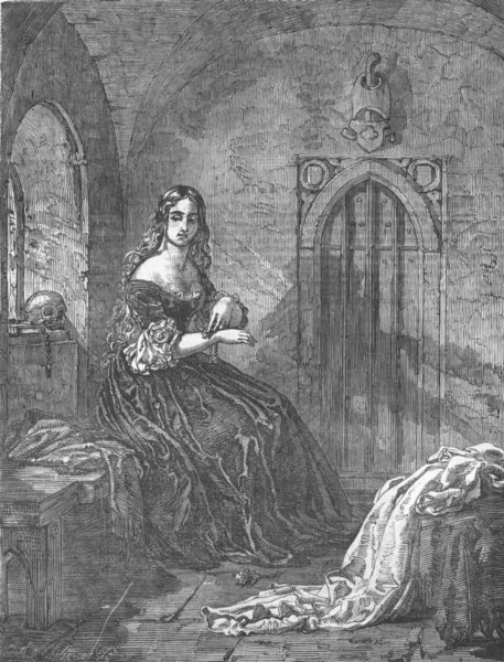 Associate Product PRETTY LADIES. The Novice, antique print, 1850