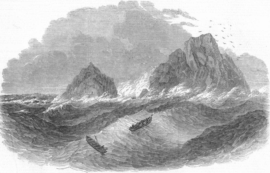 Associate Product CORNWALL. Brig Wreck, Brisson Rocks, antique print, 1851