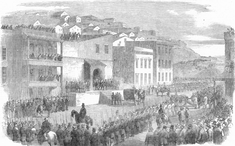 Associate Product SAN FRANCISCO. Lynch mob taking prisoners to jail, antique print, 1856