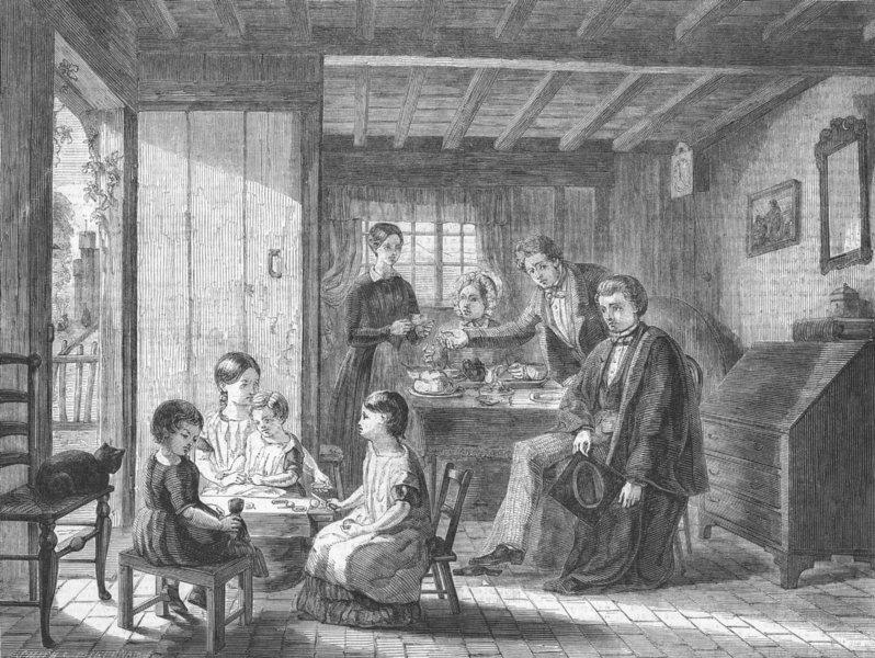 Associate Product FAMILY. Contentment, antique print, 1850