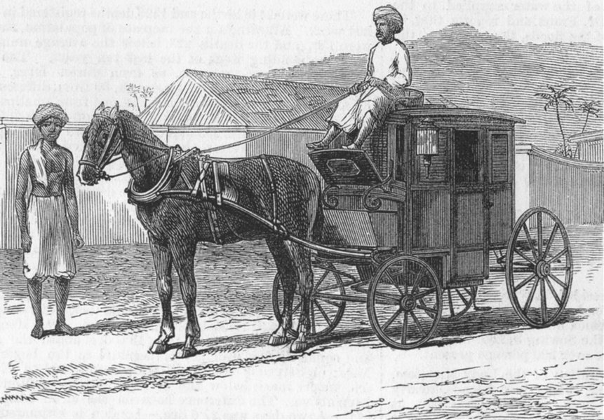 Associate Product LONDON. Hackney Carriage, Chennai, antique print, 1876