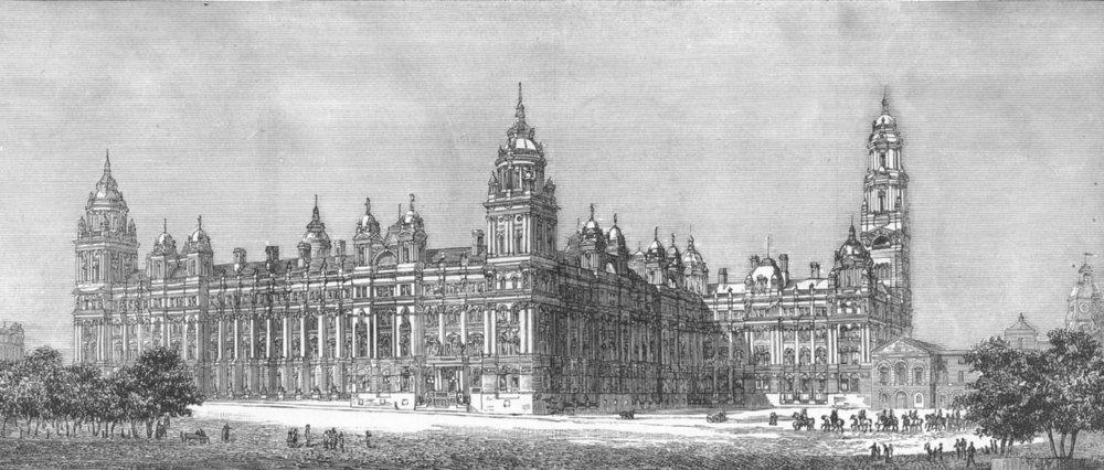 Associate Product LONDON. Admiralty & war office building design, antique print, 1884