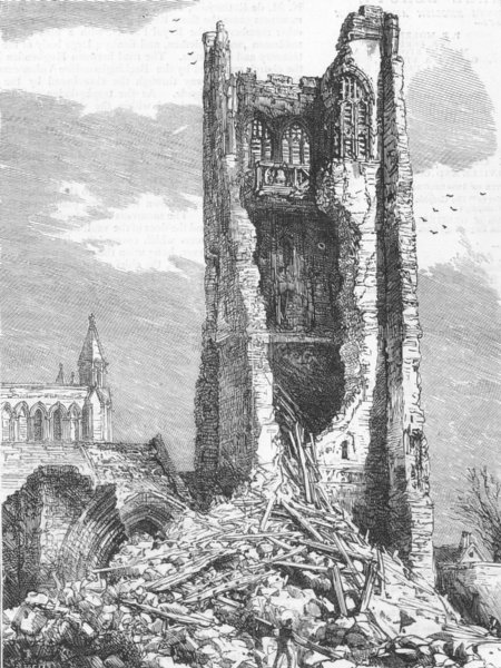 Associate Product CHESTER. Fall of tower St John's Church, -ruins, antique print, 1881