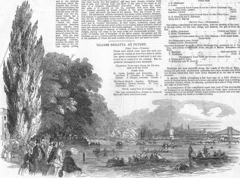 Associate Product LONDON. The Thames regatta, antique print, 1849