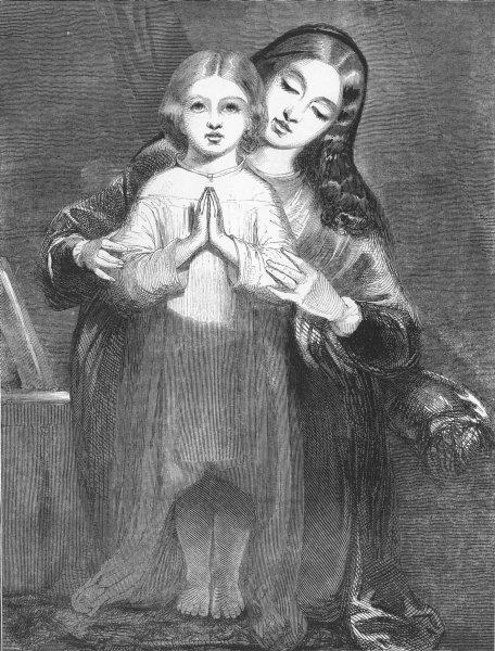 Associate Product CHILDREN. The Child's Prayer, antique print, c1850
