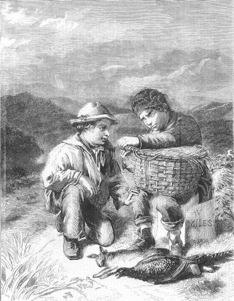 Associate Product CHILDREN. Temptation, antique print, 1858